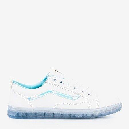 Białe tenisówki damskie z niebieską wstawką holograficzną Domsca - Obuwie