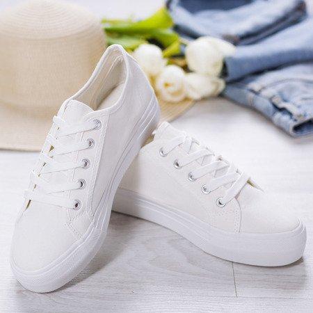 Białe tenisówki na gumowej podeszwie Tymbis - Obuwie