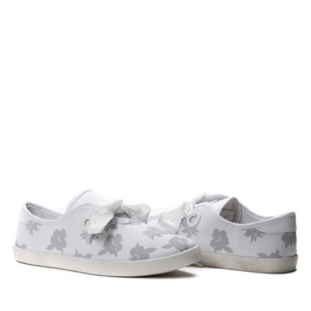 Białe tenisówki w kwiatowy print Jenny- Obuwie
