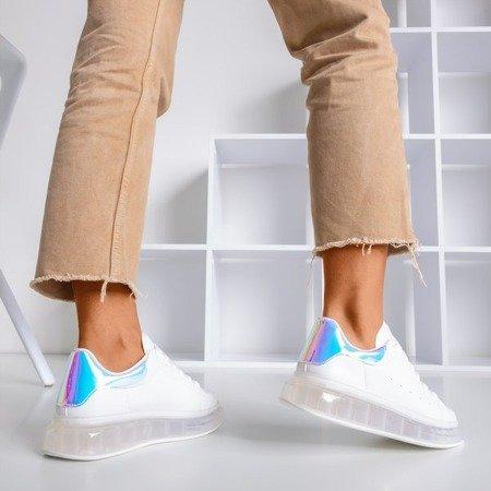 Białe tenisówki z holograficzną wstawką Judite - Obuwie