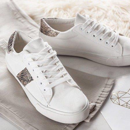 Białe tenisówki ze wstawkami a'la skóra węża Dassers - Obuwie