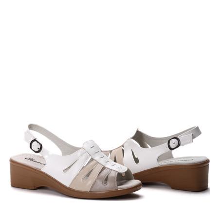 Biało-beżowe sandały- Obuwie