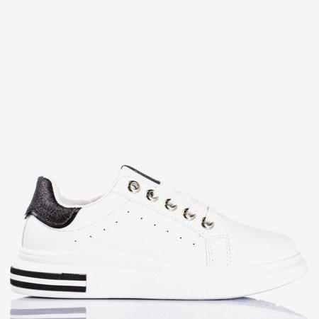 Biało - czarne sportowe tenisówki z brokatowymi wstawkami Solesca - Obuwie