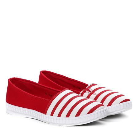 Biało czerwone slip on w paseczki Sylvia- Obuwie