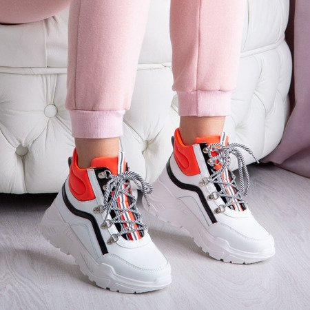 Biało - pomarańczowe buty sportowe z wysoką cholewką Perreseva - Obuwie
