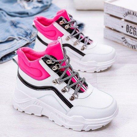 Biało - różowe buty sportowe z wysoką cholewką Perreseva - Obuwie