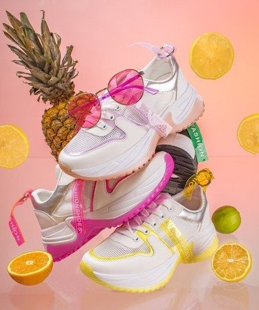 Biało-różowe sportowe buty Evanile - Obuwie