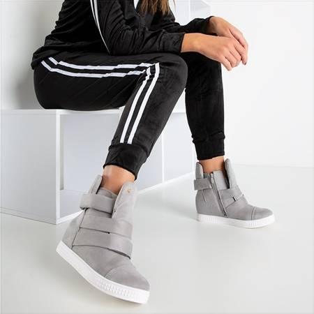 Biało-szare sneakersy na krytym koturnie Brisbane - Obuwie