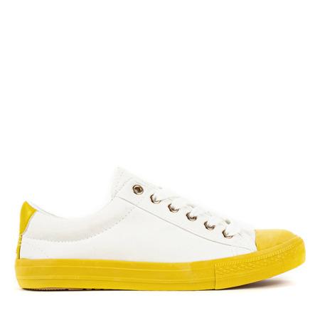 Biało - żółte trampki damskie Nieves - Obuwie