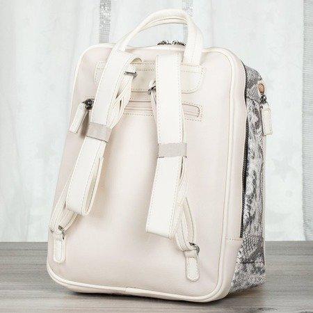 Biały plecak damski a'la skóra węża - Plecaki
