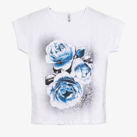 Biały t-shirt damski z printem w kwiaty - Odzież