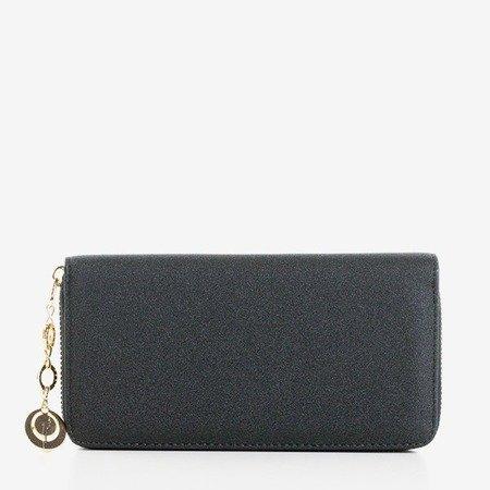 Błyszczący duży portfel damski w kolorze czarnym - Portfel