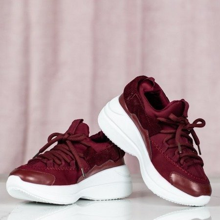 Bordowe buty daddy shoes na platformie Annabel - Obuwie