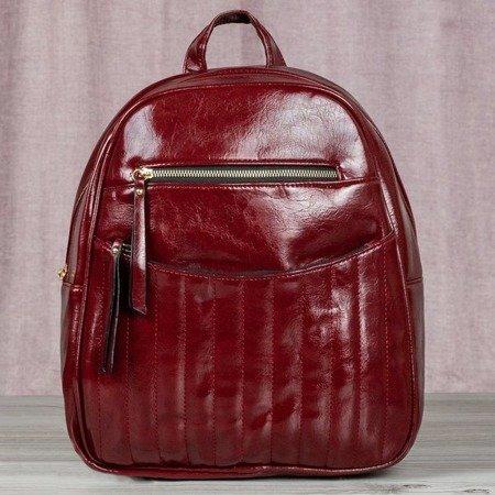 Bordowy plecak ze skóry eko - Plecaki