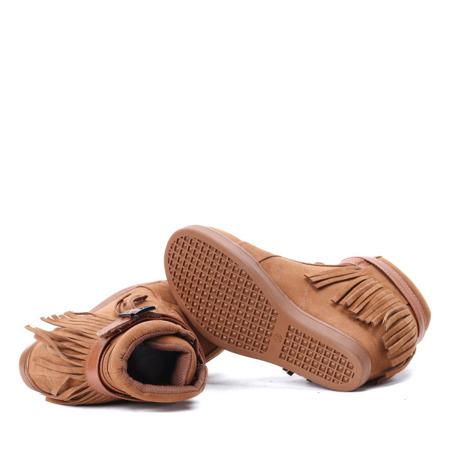 Botki na koturnie  - kolor camel - Obuwie