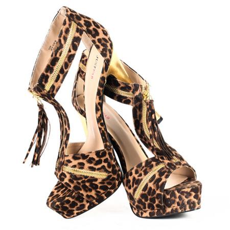 Brązowe a'la skóra geparda sandały na szpilce - Obuwie