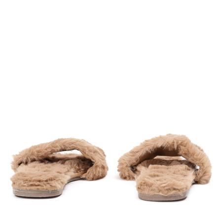 Brązowe klapki z futerkiem Brenta - Obuwie