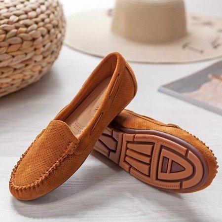 Brązowe mokasyny z ażurowym zdobieniem Eleonora - Obuwie