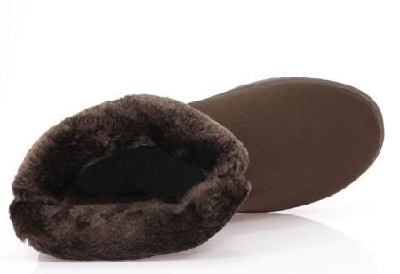 Brązowe, ocieplane śniegowce - Obuwie