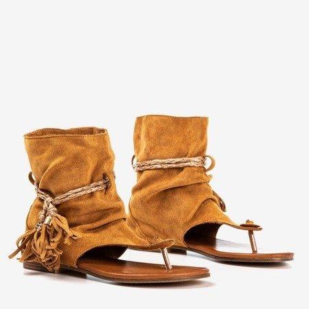 Brązowe sandały japonki z cholewką Semara - Obuwie