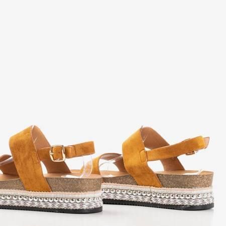 Brązowe sandały na platformie Robin - Obuwie