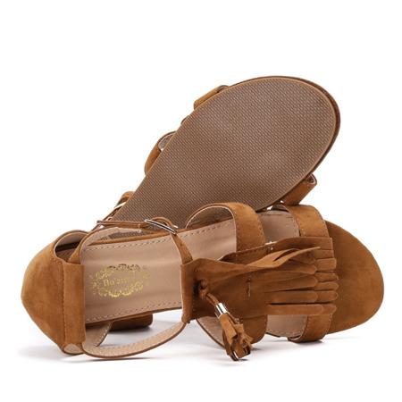 Brązowe sandały z frędzlami Bitssi - Obuwie
