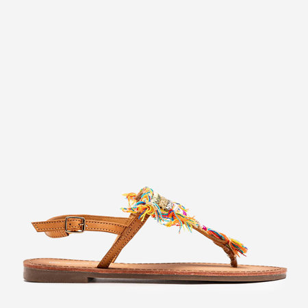 Brązowe sandały z ozdobnymi koralikami Itelija - Obuwie