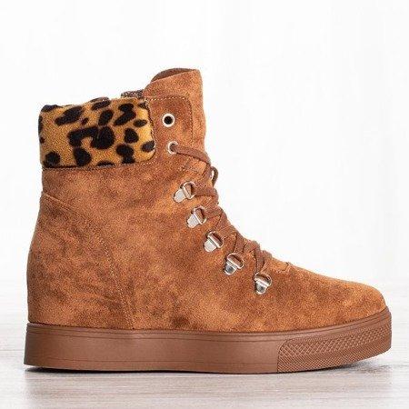 Brązowe sneakersy na krytym koturnie Paaterra - Obuwie