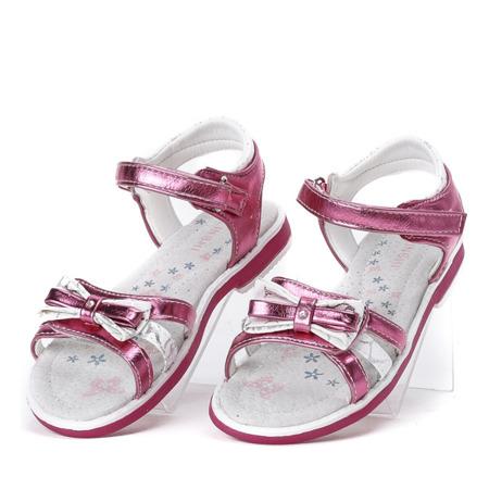 Ciemno-różowe, metaliczne sandały Cami- Obuwie