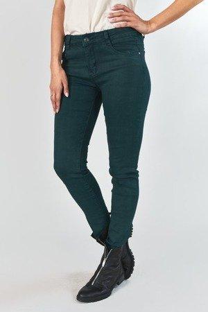 Ciemnozielone damskie jeansowe spodnie rurki z suwakami - Odzież