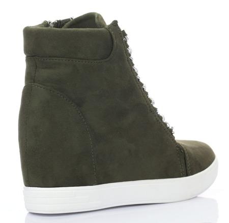 Ciemnozielone sneakersy na koturnie - Obuwie