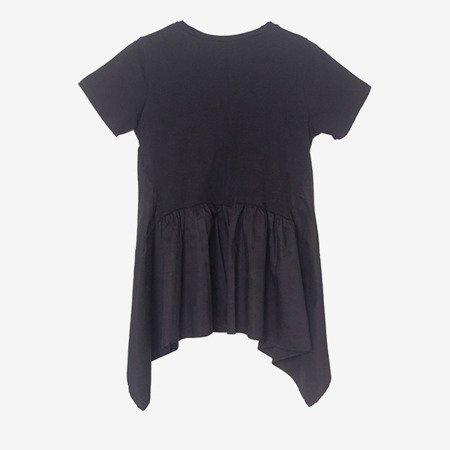 Czarna bluzka z asymetrycznym dołem - Odzież