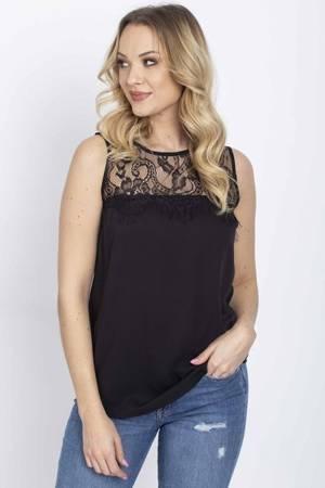 Czarna bluzka z koronkową wstawką - Odzież