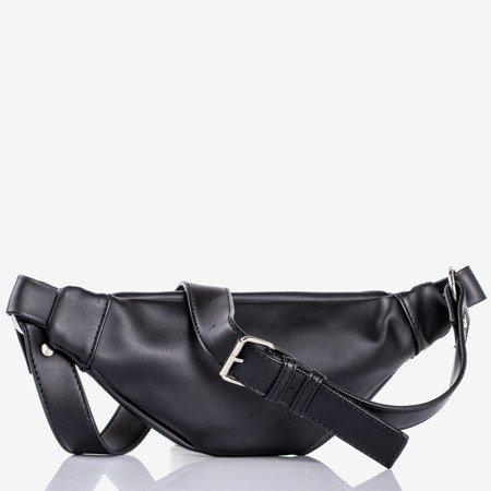 Czarna mała torebka nerka ze srebrnymi elementami - Torebki