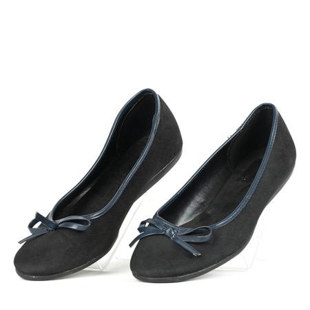 Czarne baleriny z kokardą Tulipano - Obuwie