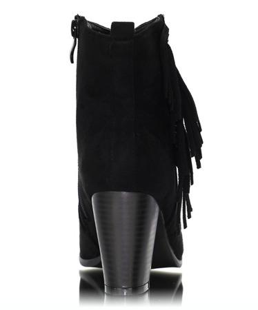 Czarne botki na słupku z frędzlami - Obuwie