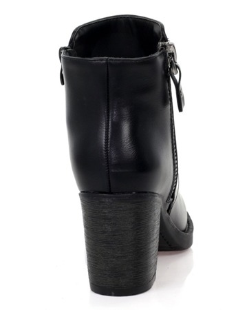 Czarne botki na słupku z suwakiem - Obuwie