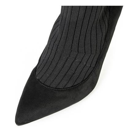 Czarne botki na szpilce a'la skarpetka Ramora - Obuwie