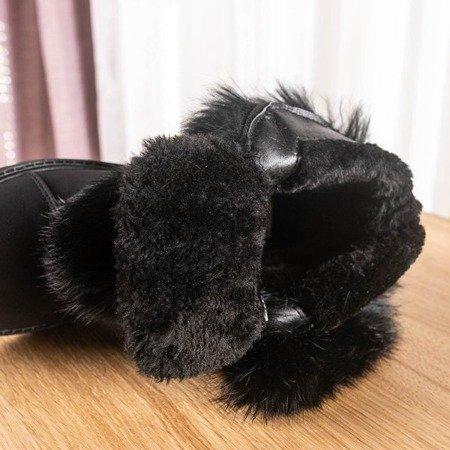 Czarne botki z futerkiem Wiscon - Obuwie