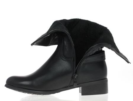 Czarne botki z warkoczami - Obuwie