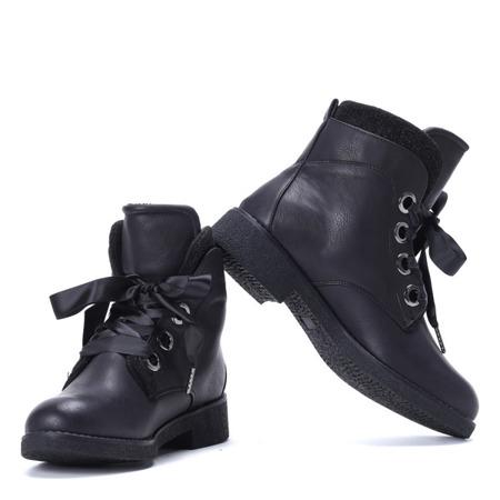 Czarne botki z wstążką - Obuwie