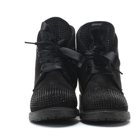 Czarne botki ze wstążką - Obuwie