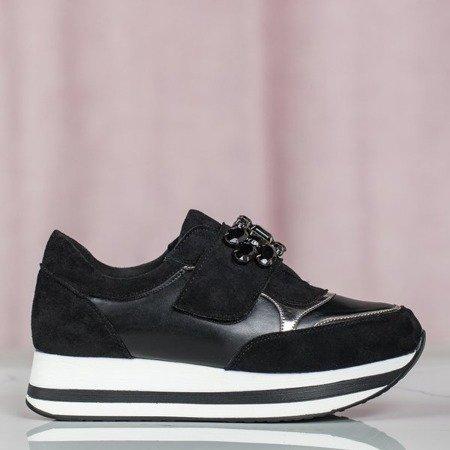 Czarne buty sportowe na platformie Celassema - Obuwie