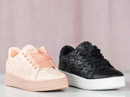 Czarne buty sportowe z wiązaniem Dylla - Obuwie