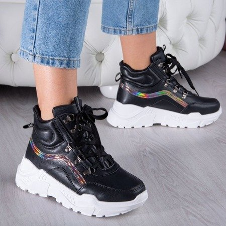 Czarne buty sportowe z wysoką cholewką Perreseva - Obuwie