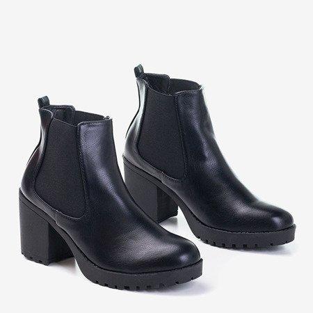 Czarne damskie botki na obcasie Vireek - Obuwie