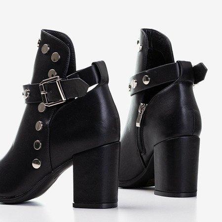 Czarne damskie botki na wyższym słupku z wycięciami Violuts - Obuwie