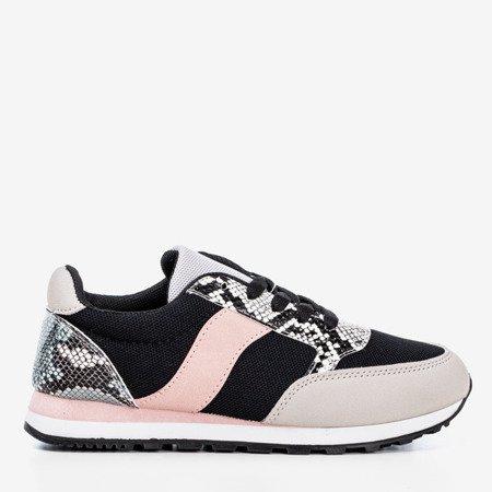Czarne damskie buty sportowe a'la skóra węża Kamalija - Obuwie