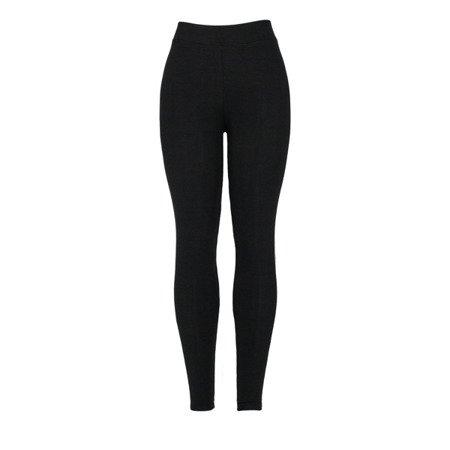 Czarne damskie legginsy z lampasami - Spodnie