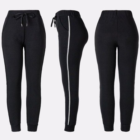 Czarne damskie spodnie tregginsy z lampasami - Spodnie